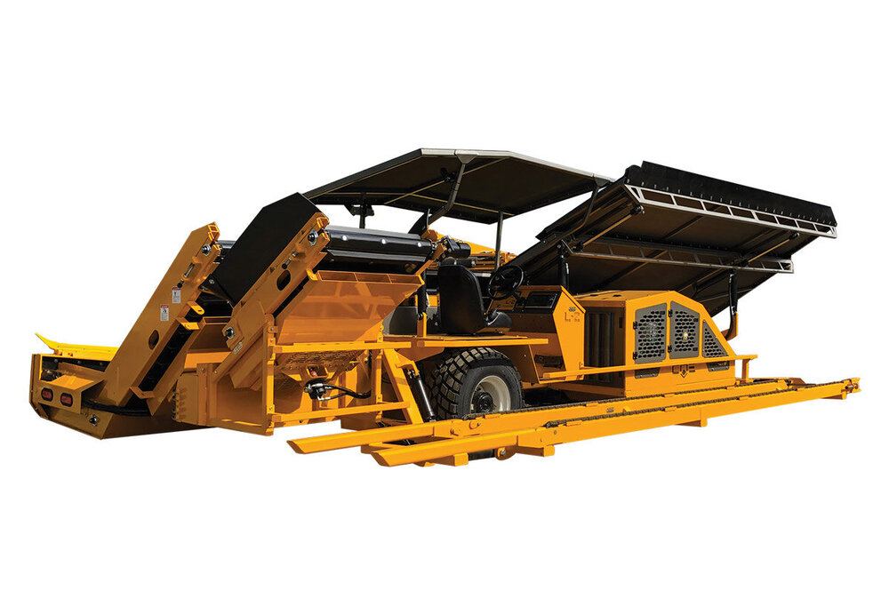 RUBBER TRACKED MACADAMIA HARVESTER